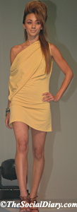 model in bias cut yellow short dress