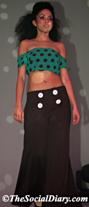 model with polka dot top