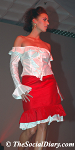 frilly white top with red skirt on model