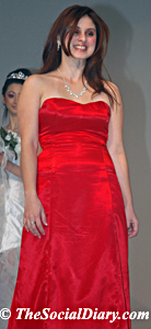 designer jemima garcia in a red strapless gown
